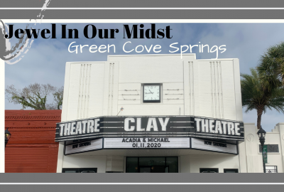 Green Cove Springs Clay Theater marquee with wedding couple names and wedding date.