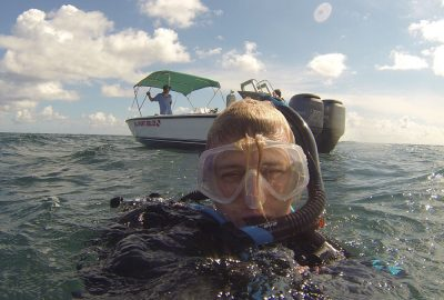 I'm getting ready to dive in Belize City Belize on the Mesoamerican Barrier Reef.