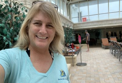 RCCL Rhapsody of the Seas for a dive cruise - Kim in the Solarium