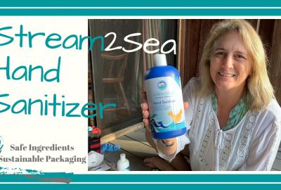 , Ecoconscious Biodegradable Hand Sanitizer // Stream2Sea // Eucalyptus and Camphor // DeepWaterHappy