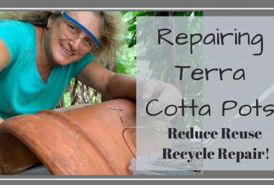 repair terra cotta pot, REPAIRING TERRA COTTA POTS // REDUCE REUSE RECYCLE REPAIR // Deep Water Happy